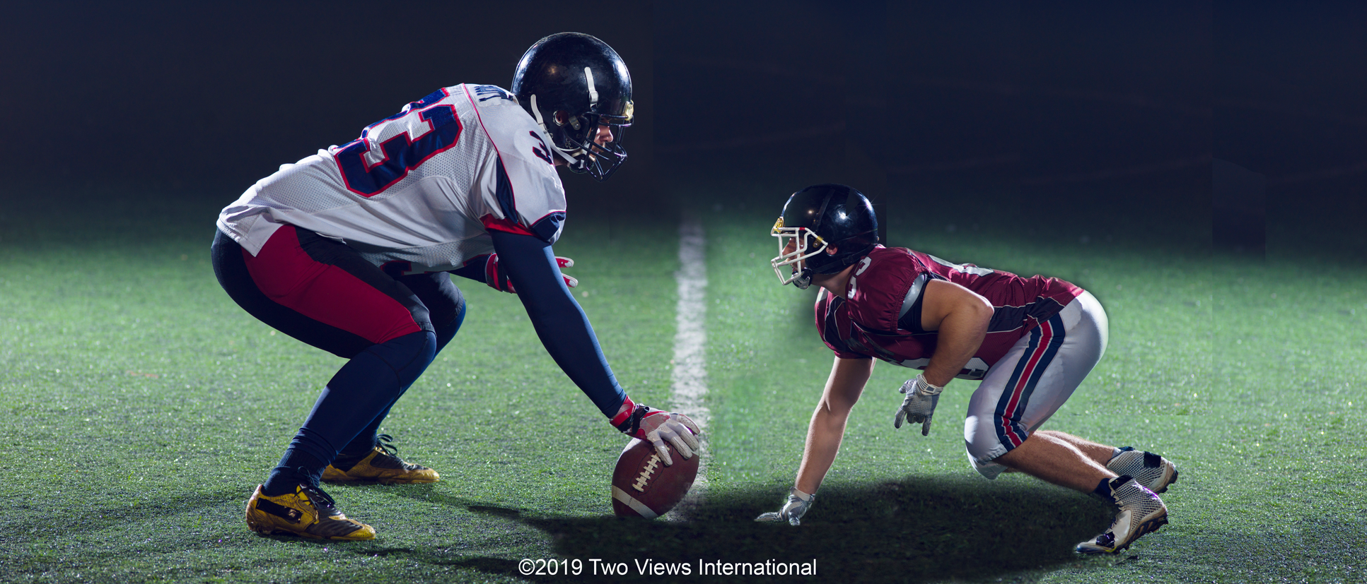 Big and small football players demonstrate an Underdog in a Negotiation